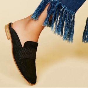 Lucky Brand Black Coryna Perforated Slip On Mules